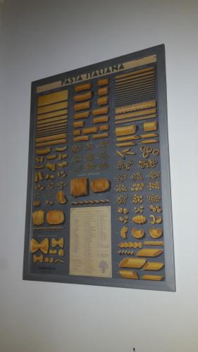 De poster met allerlei soorten pasta hangt nu boven de eettafel, want die hebben we ook meegenomen.